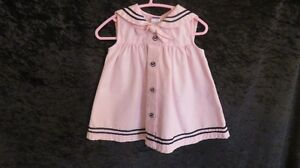 Baby Girl Dress Button Front Collar Pink/Navy Trim Sz 6-12 Mths