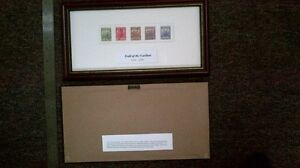 """Framed """"Trail of the Caribou"""" WW One NL stamps"""
