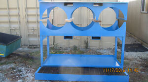 DRUM/BARREL RACK WITH SHELVING WITH SPILL CONTAINMENT