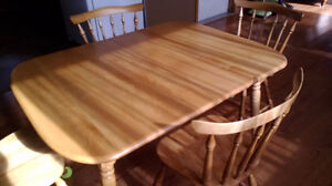 Solid Maple Table and six chairs.