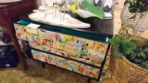 Retro dresser.woth cartoon front black outside SALE