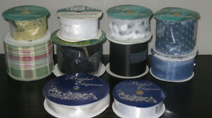 10 Spools (not all full) of (Mostly) Wired Ribbons