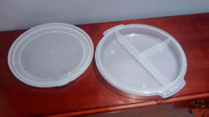 Three section plastic covered dish.