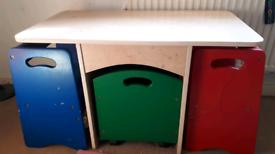 Kids desk table storage