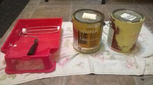 2 cans yellow paint & tray & roller