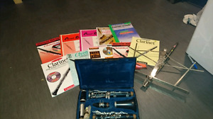 Clarinet with books and stand