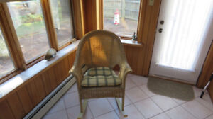 Wicker Rocking Chair and matching Stool