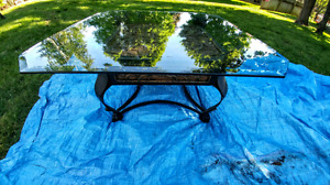 Glass & Cast Steel Coffee table , Mint Condition