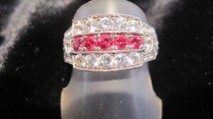 """RUBY"" RED, RARE SPINEL & WHITE SAPPHIRE RING; VINTAGE SETTING!"
