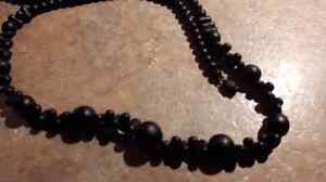 Vintage  Black Glass Beads Mourning Necklace