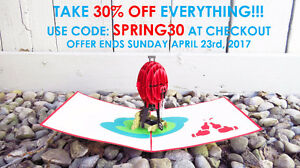 30% OFF EVERYTHING ON UNIQUE 3D GREETING CARDS!!!