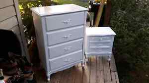 Wooden Dresser  and end table painted white great condition