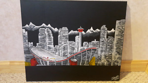 acrylic paintings. (city of calgary) and (tree sunset)