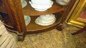 Bow front China cabinet with key. Mirror back  London Ontario image 2
