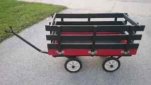 Black and Red Wooden Wagon