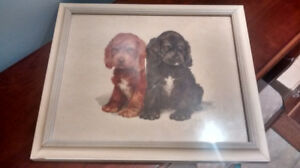 Vintage Framed Picture of 2 Spaniels by Grace Lopez.