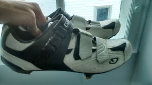 Size 13 Giro cycling shoes + Shimano 3-point clipless pedals