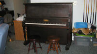 Upright Piano with 2 stools