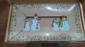 Pampered Chef Snowman Dots Divided Platter