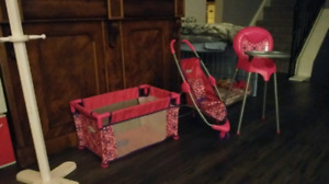 Kids toys for playing with there babies....and coat rack for chi