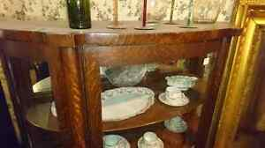 Bow front China cabinet with key. Mirror back  London Ontario image 3