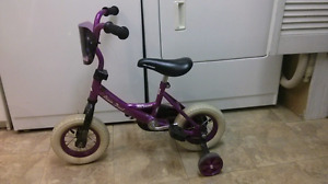 10in Little girls bike for 2 1/2-4yt old, purple, with training