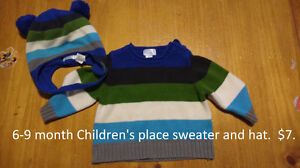6-9 months children's place sweater and hat