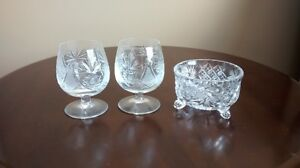 Pinwheel crystal brandy snifters (2) and candy dish $10