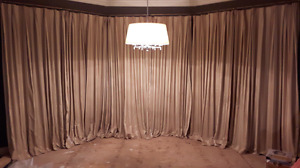 Damask striped lined curtains