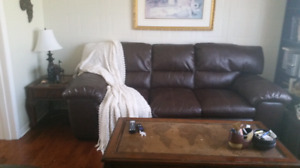 Leather like Sofa & Chair .  With matching coffee / end tables.