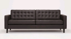 "EQ3 86"" Reverie  Sofa Premium Leather espresso - apartment condo"