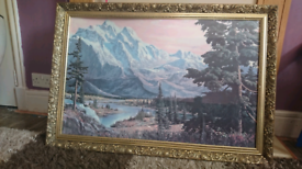 Snow capped mountain painting, artist G. Whitman.