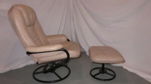 Leather Recliner, Ottoman -originally from The Chesterfield Shop