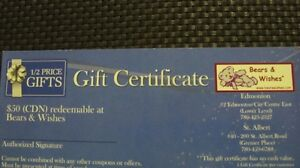 Bears & Wishes Gift Certificates. 2 x 50.  Read Description