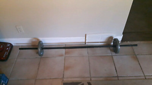 Weight Lifting Bar & Two 10 Lb Weights