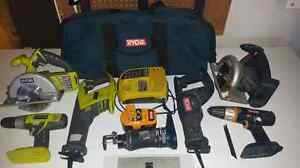 RYOBI ONE+ TOOLS.  7 tools with battery and charger.