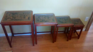 Set of 4 carved with glass tops NESTING TABLES