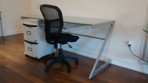desk, chair, file cabinet