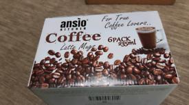 6 COFFEE LATTE MUGS