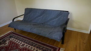 Black wood futon c/w mattress