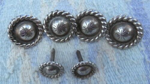 6 Screw Back Vintage Saddle Silver Concho Set