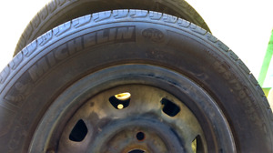 13 inch Michelin all seaons on steel wheels (4) 90 pct tread