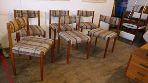 Set of 6 vintage Danish teak chairs