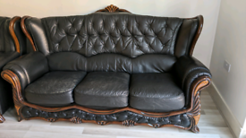 Black brown leather-style sofa set (3 seat 2 seat and single)