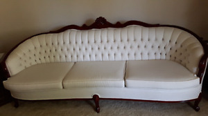French Provincial Antique White Couch and White Wing Chair