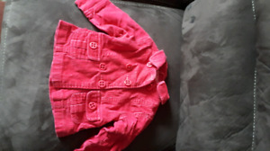 Pink cord coat.  6-12 months