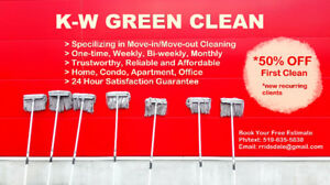 50% OFF K-W GREEN CLEAN for HOME, OFFICE, MOVE-IN/MOVE-OUT