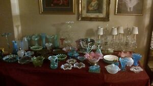 Indoor moving garage sale, antiques, display cabinets glass coll