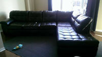 Black Leather Sectional, 2 Pieces