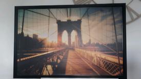 Large IKEA Brooklyn Bridge wall canvas in frame